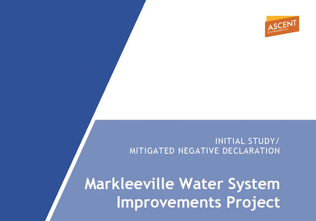CEQA Review Period for the Markleeville Water System Improvements Project Initial Study/Mitigated NegativeDeclaration